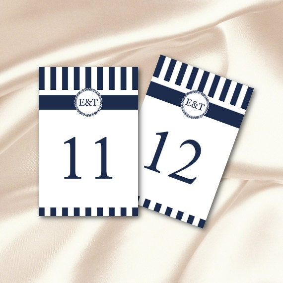 Table Number Template, Diy Navy Blue Striped Monogram Wedding Table ...