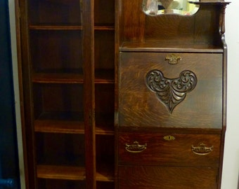 Antique Side-by-Side Curio Secretary Cabinet