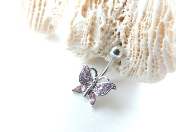 Purple Butterfly Belly Button Ring