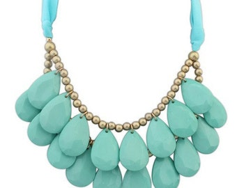 JCrew Inspired Mint Beaded Teardrop Statement Necklace, Beaded Bib Necklace, Anthropologie Inspired Mint Necklace, FREE SHIPPING!
