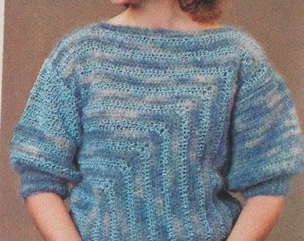 Crochet sweater pattern blue vintage 1983 instant download 1980s