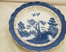 Blue Willow Plate Asian Style , Transferware Plate Signed Booth Real Old Willow