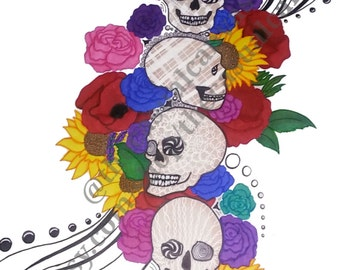 Beauty of the Ending Contemporary Art Print Original Art Work Wall Art Surreal Art Floral Skulls Print