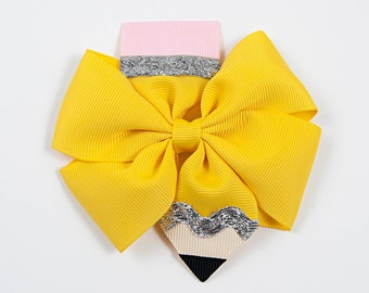 Pencil Hair Bow, Back to School Hair Bow, Pencil Hair Clip, School Hair Bow, Yellow Hair Bow, Pencil Bow, Girls Hair Bow (Item #10144)