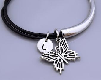 Butterfly bangle, Butterfly bracelet, Butterfly filigree charm, Butterfly jewelry, Leather bracelet, Leather bangle, Personalized bracelet