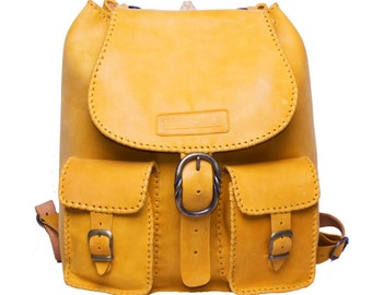 100% Handmade Leather Satchel Rucksack Mustard Brown Backpack by Moo-chila Bags