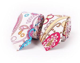 Paisely Cotton Neckties.Mens Wedding Ties.Wedding Accessoires.Suit Accessoires.Skinny Ties