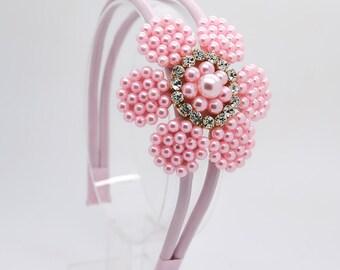 Pink Flower Arch Headband, Pink Hard Headband, Girl Hard Headband, Big Girl Headband, Flower Girl Headband, Flower Arch Headband, 732