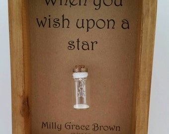New baby gift, naming ceremony, Christening gift, When you wish upon a star. Can be personalised with names or your own message.