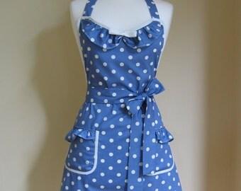 Womens Apron/1950s Style Apron/ Retro Apron / Vintage Style Apron / Polka Dot Apron / Blue Apron/ Blue and Cream Spot Apron / Handmade Apron