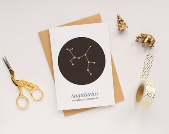 Sagittarius Star Sign Birthday Card / Constellation Card / Zodiac Sign / Birthday Card / Star Sign Constellation / 100% Recycled Materials