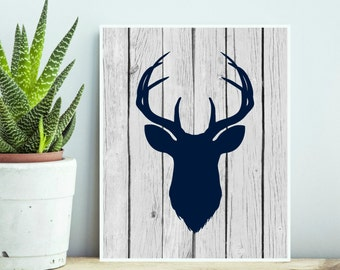 Navy Blue Deer Head Silhouette Digital Print Instant Art INSTANT DOWNLOAD 8X10 and 12X12 File