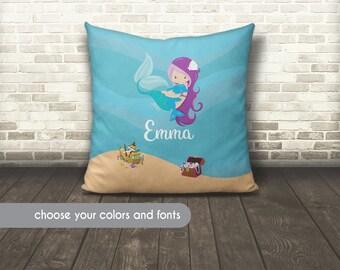 Mermaid Pillow, Custom Kids Pillow with Mermaid, Kids Name Pillow, Kids Name Cushion, Mermaid Bedding, Mermaid Pillow, Mermaid Gift