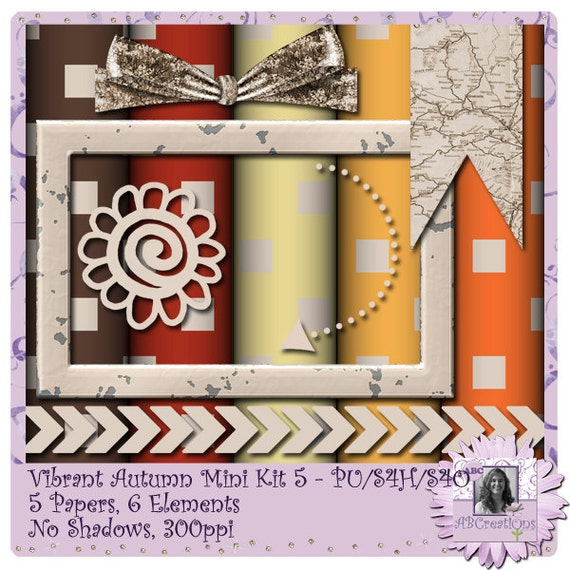 Vibrant Autumn 5 - a digital scrapbooking kit with 5 papers and 6 embellishments
