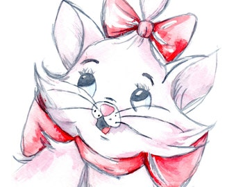 Watercolor Art Print featuring Walt Disney's Marie from The Aristocats**Buy 2 get 3rd FREE