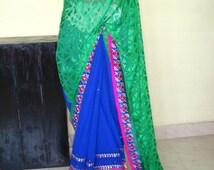 Blue and green color Brasso and georgette saree,embroidery saree ,indian wedding saree, women fashion saree,designer bollywood  saree