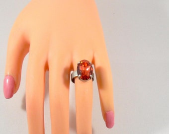 Statement ring, vintage ring, Solitaire ring, Padparadscha ring, adjustable, antique silver ring, ring stone, Crystal ring, ring colour stone