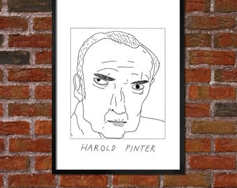 Badly Drawn Harold Pinter - Literary Poster - *** BUY 4, GET A 5th FREE***