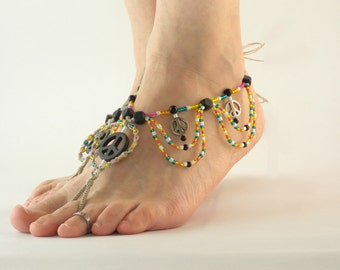 Barefoot Sandals with Peace Charms, Hemp Foot Jewelry, Barefoot Jewelry, Colorful, Beach Sandals, Hippie Shoes, footless sandals Pool, Yoga