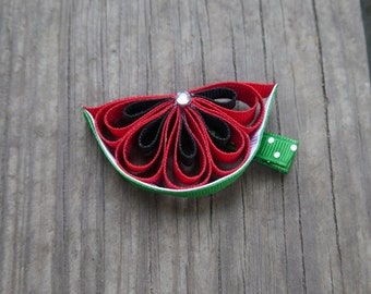 Watermelon Ribbon Sculpture; Summer Hair Bow; Watermelon Hair Clip