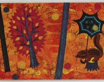 "Illustrator Galanin Vintage Soviet Postcard ""Four envelopes"" Sapgir - 1969. Sovetskiy hudozhnik. Chipmunk, Umbrella, Trees, Yellow, Forest"
