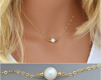 Choker Necklace Pearl, Necklace with Pearl, Swarovski Pearl, Single Pearl Necklace, Bridesmaid Gift, Bridal Necklace, White Paearl