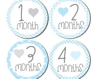 Milestone Sticker- Baby Month Stickers- Baby Boy Month Stickers- Monthly Stickers- 12 month stickers- Milestone Baby Month Stickers- B03