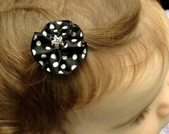 Black Polka-Dotted Hair Clip w/ Silver Embellishment