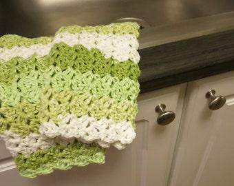 Green Striped Crochet Dish Cloth Set