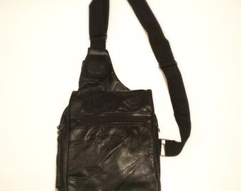 90s Small Backpack Black Leather Crossbody Mini Bag Purse