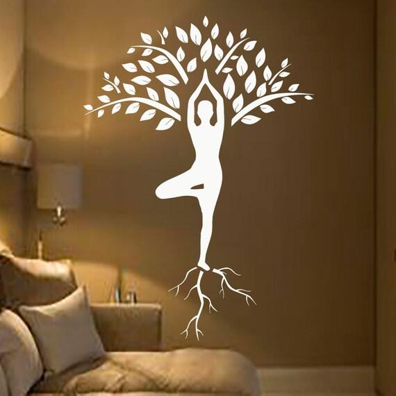 Baum wall decals kunst turner decal yoga meditation von for Innenarchitektur yoga