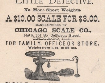 """19th Century Broadside Ad for """"Little Detective"""" Scales"""