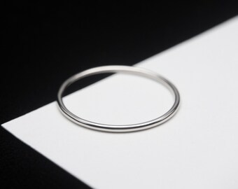 14K Solid White Gold, Ultra Thin Gold Ring Band, 1mm or 1.3mm, Gold Ring Spacer, Custom Size, Handmade to Order!