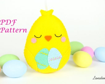 PDF pattern Easter chick decoration, sewing pattern, DIY, felt softie with easter eggs, make your own, instant download