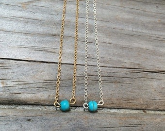 Delicate Single Bead Turquoise Necklace, 14k gold necklace, Turquoise Gold Necklace, Smooth Beaded Turquoise Necklace, Sterling Silver
