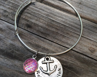 Refuse to Sink bracelet, Ocean Bracelet, Charm Bangle, Charm bracelet