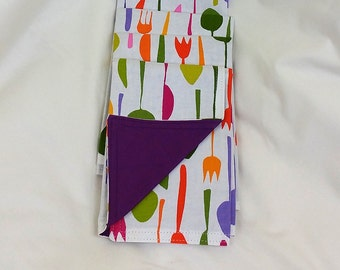 set of 4 double sided (reversible) multi color fork and dark purple
