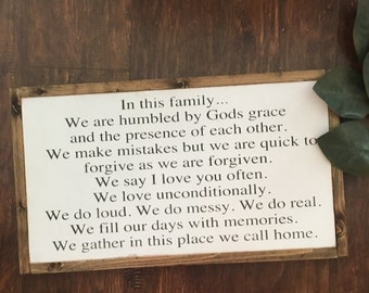 12x24 family rules | farmhouse sign | custom wood sign | gather sign | gallery wall | fixer upper decor