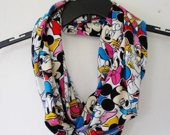Mickey Mouse and Friends Print Jersey Knit Infinity Scarf