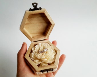 Engagement ring box, rustic style cotton lace shabby chic brown cream lace sola flower birch bark heart small box proposal