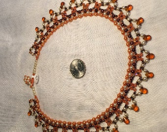 Necklace, glamorous and sparkly, beaded gold-tone and creamy glass pearls with golden beads.  Original and One-of-a-Kind.