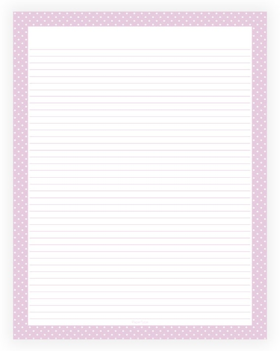 Editable Lined Paper   Light Purple And White Polka Dot Border  Instant  Download, Digital, Printable, PDF  Editable Lined Paper