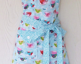 Tea Time Apron, Teapots, Teacups, Womens Full Apron, Retro Style Apron, Tea Party Apron, KitschNStyle