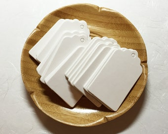 3x5 cm White Scallop Blank Tags (50 pcs) Favor Tags Swing Tags Card Blanks C0071