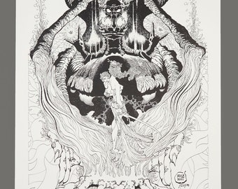 1978 Alex Nino The Dark Suns Of Gruaga Portfolio Plate #4 THE PRIEST 11 x 16 Black & White Art 752/1000 Limited Edition