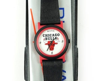 1980s Bulova Chicago Bulls Wrist Watch Japanese Quartz Vintage NBA Official Licensed Product Genuine Original