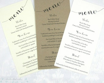 Handmade Rustic Charm Wedding Menu, Kraft, Ivory or White