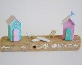 Cornish Driftwood Beach Hut Scene, Pink & Sea Green. Handmade By Hello Sunshine Designs Cornwall. Surf Art, Beach Art, Summer Decor, Surf