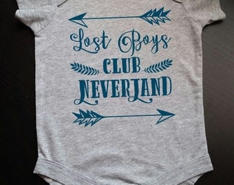 Peter Pan Lost Boys Club Neverland Baby Newborn Bodysuit Neverland Lost Boys Captain Hook