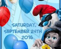 THE SMURFS Inspired Ticket Invitation , DIY Printable Invite, Emailable Invite (Evite) Cute & Fun Birthday Invite!!!!!!